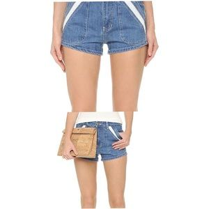 Free People Shorts - Free people - Lace Pocket Denim High Rise Shorts